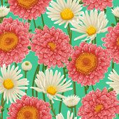 picture of chamomile  - Floral pattern with chamomiles and other flowers - JPG