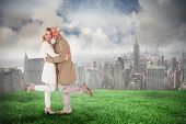 pic of trench coat  - Happy couple posing in trench coats against cloudy sky over city - JPG