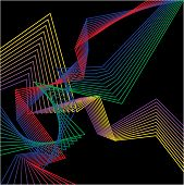 pic of contortion  - abstract bright colored geometric broken lines set isolated on dark background for use in design - JPG