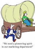 pic of covered wagon  - Cartoon of pioneer woman in covered wagon - JPG