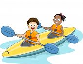 stock photo of kayak  - Illustration of a Boy and a Girl Maneuvering a Kayak - JPG