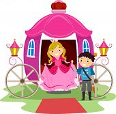 stock photo of stickman  - Illustration of Stickman Kids Dressed as a Prince and a Princess - JPG