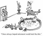 stock photo of retirement  - Cartoon of two business people looking at the retirement lounge - JPG