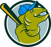 stock photo of baseball bat  - Illustration of a trout fish baseball player with hat holding baseball bat batting looking to the side set inside circle on isolated background done in cartoon style - JPG