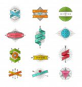 stock photo of emblem  - Vector set of colored hipster line signs and emblems - JPG