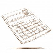picture of calculator  - Hand drawn vector illustration of a calculator - JPG