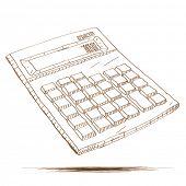 pic of calculator  - Hand drawn vector illustration of a calculator - JPG