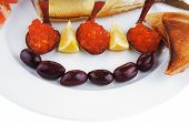 Постер, плакат: diet food red caviar and smoked mackerel fish with lemon tomatoes and bread on white china plate i