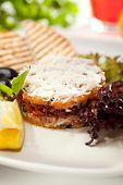 stock photo of tartar  - Salmon Tartare with Crispy Bread - JPG