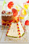 picture of easter candy  - Traditional Easter quark dessert with the candied fruits - JPG