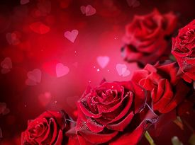 stock photo of valentine card  - Roses and Hearts background - JPG