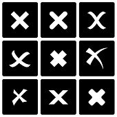 pic of reject  - Vector black rejected icon set on black background - JPG