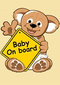 picture of baby bear  - Baby on board sign with Teddy bear  - JPG
