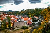 stock photo of red roof  - View on red roofs in Cesky Krumlov Czech Republic - JPG