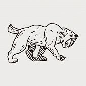 stock photo of saber-toothed  - Smilodon Doodle - JPG