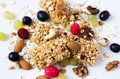 picture of oats  - Muesli with oat and rye flakes berries nuts and grapes - JPG