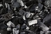 stock photo of minerals  - Coal mineral black as a cube stone background - JPG
