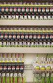 pic of relay  - Relay panel with relays and wires closeup - JPG