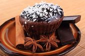 picture of chocolate muffin  - Homemade delicious fresh baked chocolate muffins with desiccated coconut pieces of chocolate and star anise lying on plate - JPG