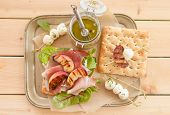 stock photo of smoked ham  - Sandwich with smoked ham grilled peaches and mozzarella - JPG