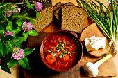 foto of slab  - Ukrainian dinner with borscht - JPG