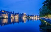 foto of prime-minister  - Binnenhof palace place of Parliament in The Hague Netherlands at dusk - JPG