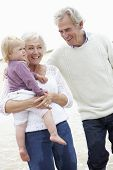 picture of grandparent child  - Grandparents And Granddaughter Walking Along Beach Together - JPG