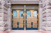 pic of front-entry  - Beautiful old front doors on the facade of the building Old City Hall - JPG