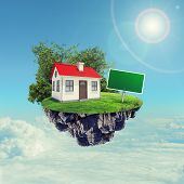 pic of red roof  - White house with red roof and sign on island in sky with clouds - JPG