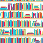 Seamless Books, Seamless Pattern With Books, Library Bookshelf, Library, Bookstore, Books On A Shelv poster