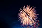 Постер, плакат: Beautiful Colorful Fireworks On Sky