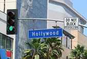 Hollywood Boulevard sign at a busy intersection