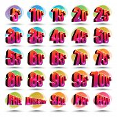 stock photo of three-dimensional  - Colorful Discount Icons - JPG