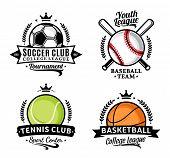 Set Of Sport Team Logo For Four Sport Disciplines poster