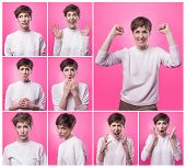 Different Emotions Collage. Set Of Young Emotional Woman Over Pink Background. Female Different Emot poster