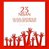 Banner National Childrens Day In Turkey Childrens Hands With A Month And A Star On The Red Backgro poster