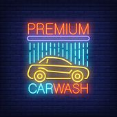 Premium Carwash Neon Text And Automobile Under Shower. Neon Sign, Night Bright Advertisement, Colorf poster