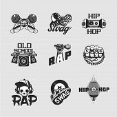 Rap Party Collection Of Emblem. Hip-hop Music Signs Set. Old Skull Style. poster
