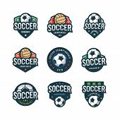 Set Of Football, Soccer Logos. Sport Emblems, Badges, Design Elements, Logotype Templates Vector Ill poster