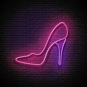 Vintage Glow Signboard With Pink High Heel Shoe, Shopping Concept. Boutique, Stripper, Black Friday  poster