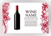 Advertising Magazine Page, Wine Presentation Brochure. Vector Illustration Of A Dark Bottle Of Red W poster