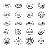 360 Degree Views Of Vector Circle Icons Isolated From The Background. Signs With Arrows To Indicate  poster