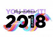 Congratulations Graduates Class Of 2018 Vector Logo. Creative Party Invitation, Banner, Poster, Card poster