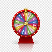 Wheel Of Fortune Roulette For Gambling Lottery Game. Vector Gamble Game Of Chance Disk With Win-win  poster