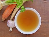 Clear Beef Broth, Bone Broth, Bouillon In White Bowl And Vegetables On Wooden Table Top View poster