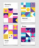 Vintage Swiss Graphic, Geometric Bauhaus Shapes. Vector Posters In Minimal Modernism Style. Illustra poster