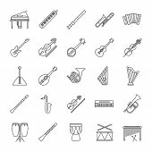 Musical Instruments Linear Icons Set. Orchestra Equipment. Stringed, Wind, Percussion Instruments. T poster