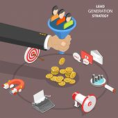 Lead Generation Strategy Flat Isometric Vector Concept. Marketing Process Of Conversion Rate Optimiz poster