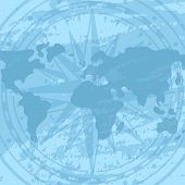 Grunge Background With Compass Rose And World Map. Geography Research, Worldwide Traveling And Natur poster