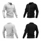 Mens zip neck pullover with raglan sleeves, rubber cuffs and collar. 3d rendering. Front and back v poster